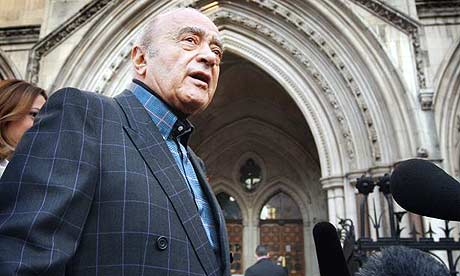 Mohamed Al Fayed arrives at the high court to give evidence in the inquest into the deaths of his son and Diana, Princess of Wales