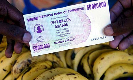 From Agence France Presse - A Zimbabwean $50 million note in April, not enough to buy a banana