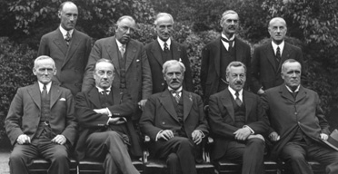 Cabinet ministers, August 1931. Back row (left to right): C Lister, J Thomas, Rufus Isaacs, (Lord Reading), Neville Chamberlain and S Hoare (Viscount Templewood). Front row (left to right): Philip Snowdon, Stanley Baldwin, prime minister Ramsay MacDonald, H Samuel and Lord Stanley. Photograph: Getty