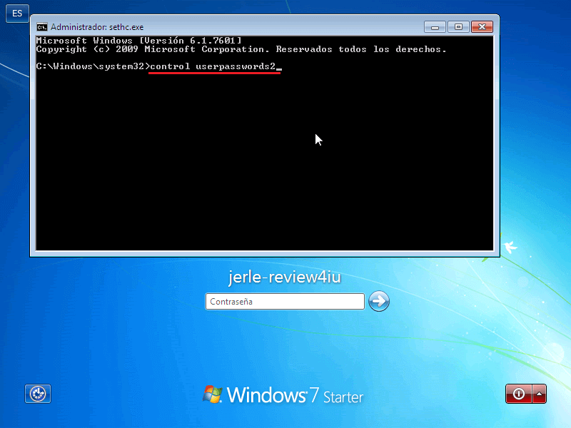 Control userpasswords2 - Borrar clave en Windows 7