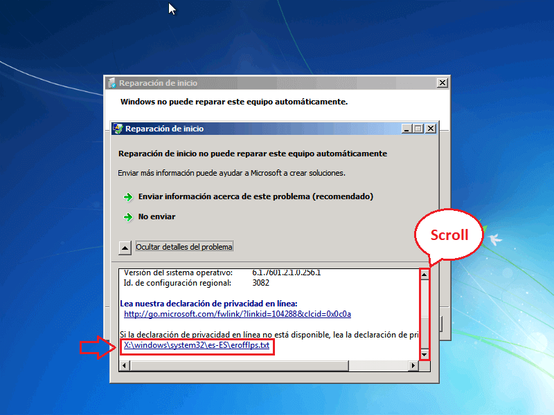 X:\windows\system32\es-ES\erofflps.txt - Borrar clave en Windows 7