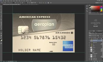 Aeroplan american express credit card psd template