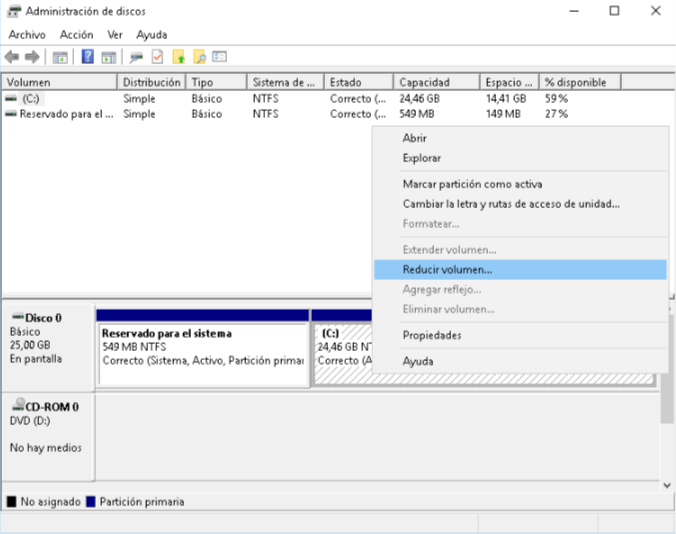 Instalar Windows sin USB ni CDs - Reducir volumen