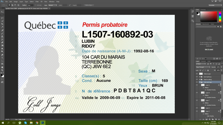 Quebec Canada driving licence psd template