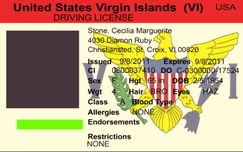US Virgin Islands driving licence psd template