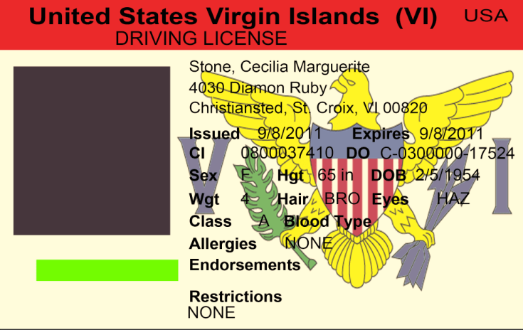 US Virgin Islands driving licence psd template