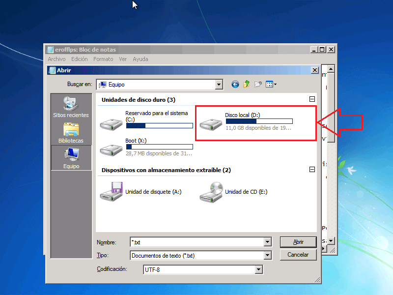 Explorador de archivos Disco D - Borrar clave en Windows 7