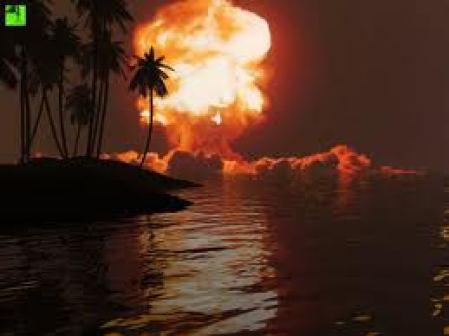 Ledakan bom nuklir. Saat ini kita mempunyai cukup bom nuklir untuk memusnahkan manusia.