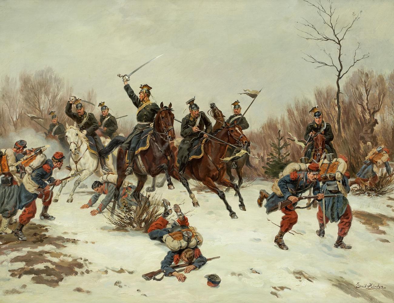 Emil_H_nten_Gefecht_zwischen_preussischen_Ulanen_und_franz_sischen_Infanteriesoldaten