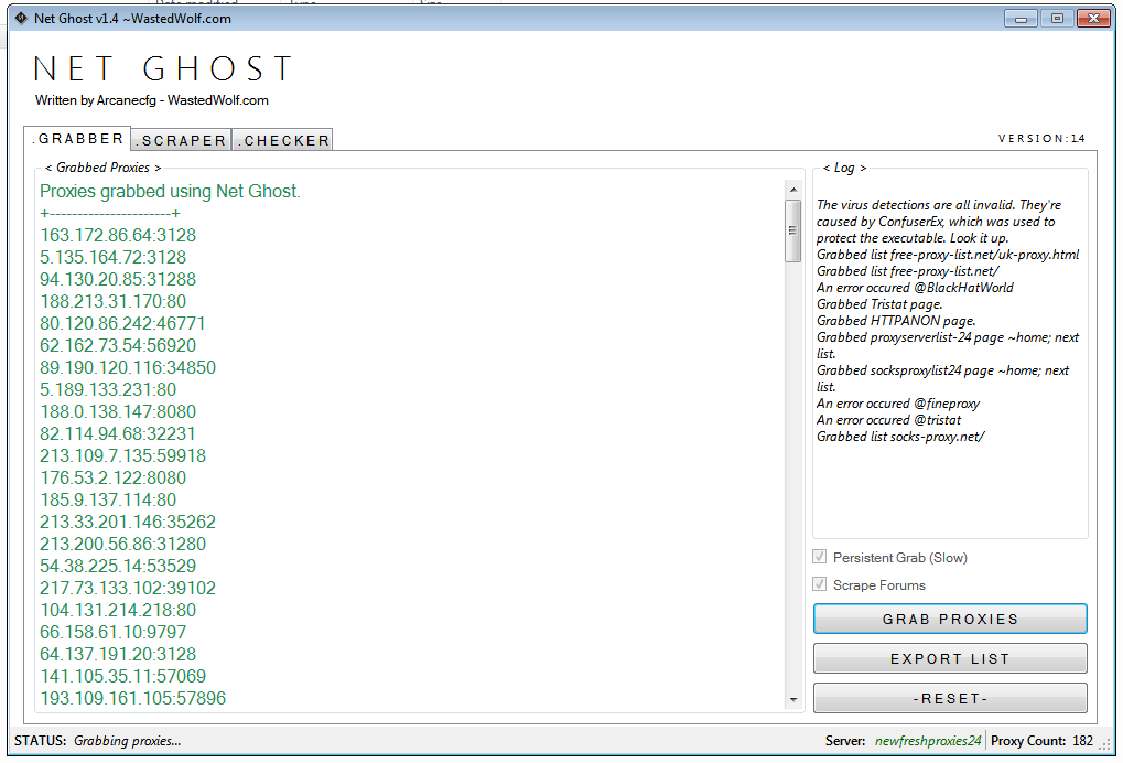 NetGhost v1.4 Proxy scrapper and manager
