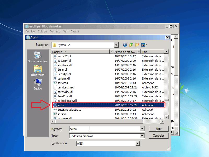 Archivo Sethc - Borrar clave en Windows 7
