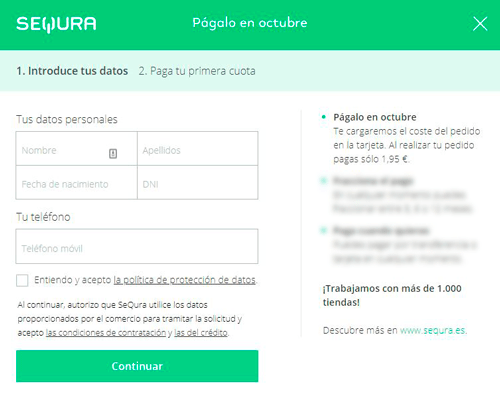 Introduce tus Datos SEQURA, en Outletsalud