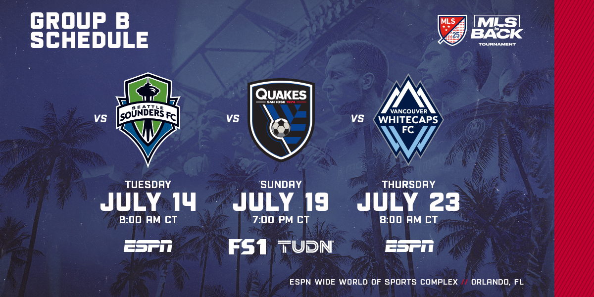 CFFC GROUP B SCHEDULE UPDATE | VS SEATLE SOUNDERS FC TUESDAY, JULY 14 AT 8:00 AM CT ON ESPN | VS SJ QUAKES SUNDAY, JULY 19 AT 7:00 PM CT ON FS1 & TUDN | VS VANCOUVER WHITECAPS FC THURSDAY, JULY 23 AT 8:00 AM CT ESPN | ESPN WIDE WORLD OF SPORTS COMPLEX // ORLANDO, FL