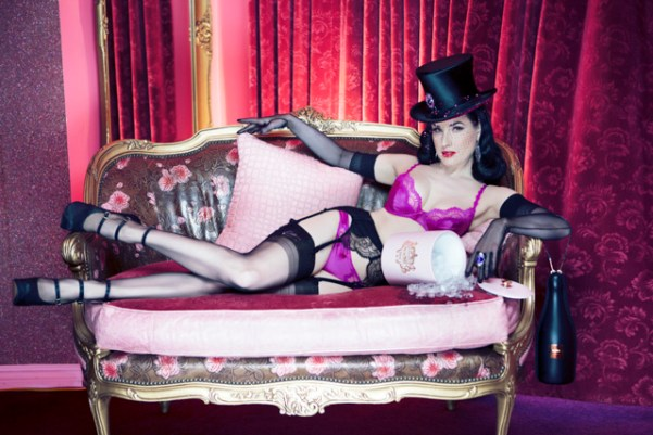 Dita Von Teese wearing the Victoria Grant hats with Stephen Webster jewels, for WhoYouAre