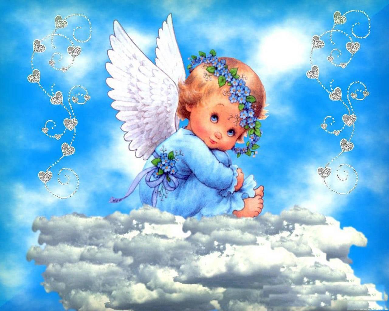 Днем, открытки с днем рожденья с ангелами