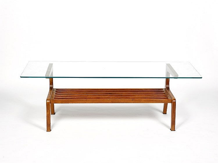 Schulim Krimper (1893-1971) Coffee Table glass top with lower support platform for magazines