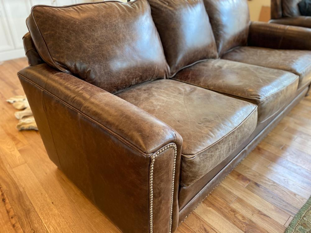 rustic distressed smith brothers stationary leather sofa with beads