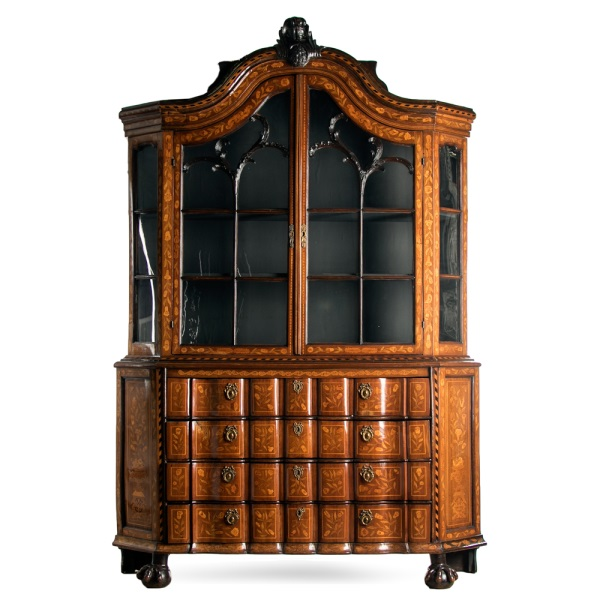 19th C. Dutch Marquetry Inlaid China Cabinet
