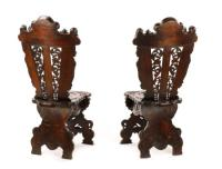 Pair of Baroque Style 'Sgabello' Hall Chairs, 19th
