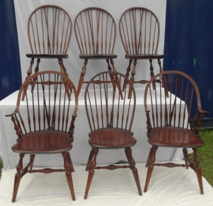 6 Brace Back Wallace Nutting Windsor Chairs