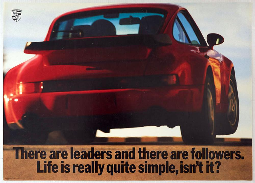 advertising poster porsche 911 turbo leaders and followers