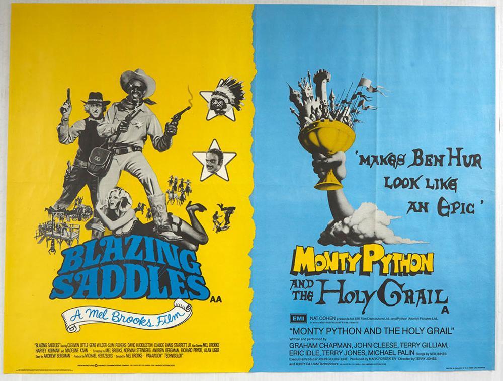 movie poster blazing saddles monty python and the holy grail uk quad