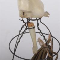 Antique half doll boudoir lamp.