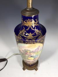 Antique Cobalt Blue Porcelain Lamp