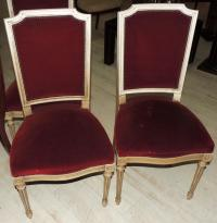 SET OF 8 CHAIRS Louis XVI style in ivory wood upholstered in