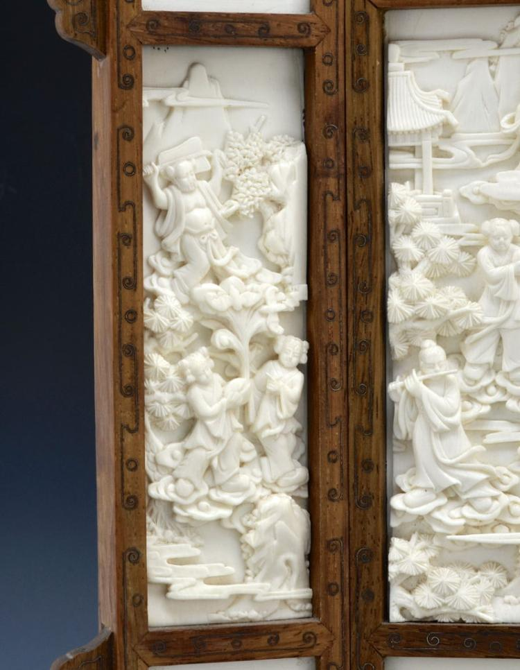 Sold Price: Fine Chinese 19th C. Huanghuali Wood Screen With Ivory Plaques - February 6. 0115 1:00 PM PST