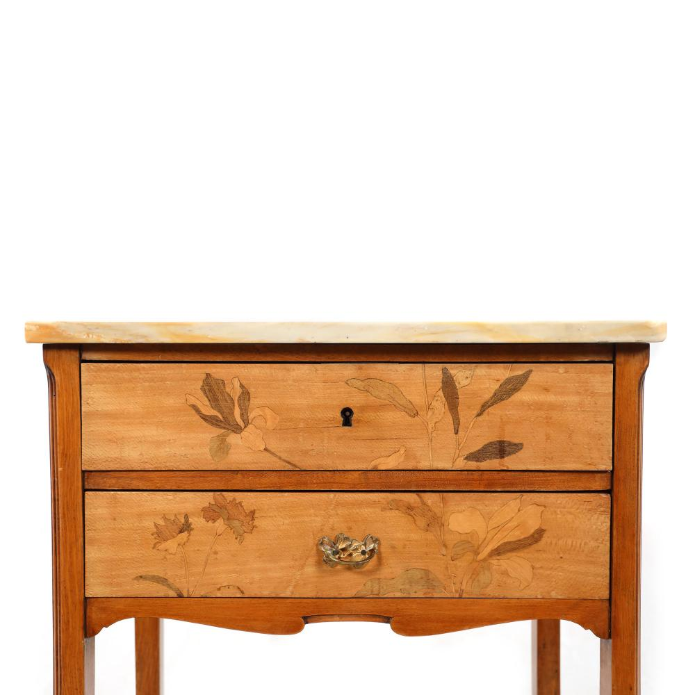 commode with art nouveau floral veneer emile galle style