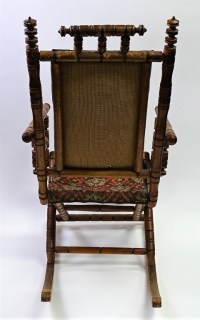 ANTIQUE HAND EMBROIDERED ROCKING CHAIR