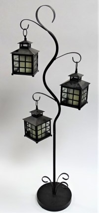 ANTIQUE WROUGHT IRON LANTERN LAMP STAND