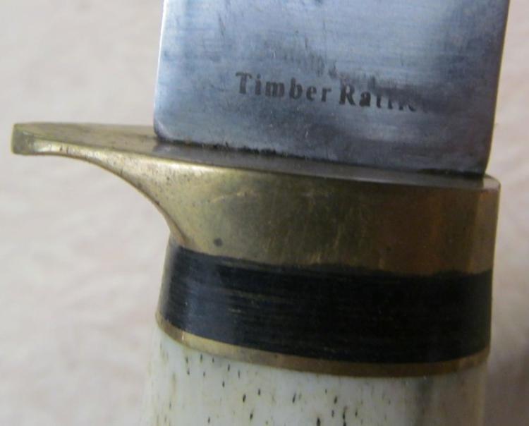 BLADES 424 BONE HANDLED 4 TIMBER RATTLER HOOK BLADE KNIFE