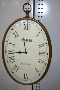 Wall mounted Parisian style wall clock, with Roman numerals