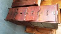 Vintage 4 drawer timber filing cabinet original retailer's l