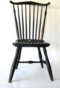 Antique fan back Windsor chair in old green paint, 36.5 inch