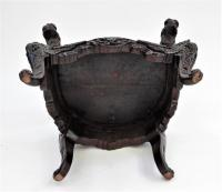 Japanese Meiji Period Carved Hardwood Throne Chair