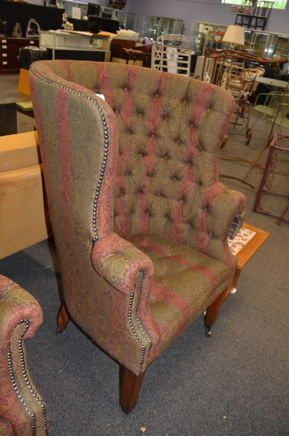 Sold Price Pair Ralph Lauren Tufted Upholstered Barrel Back Wing Chairs 45 H Seat Height 20 H October 2 0119 10 30 Am Edt