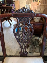 Fancy mahogany Victorian side chair.