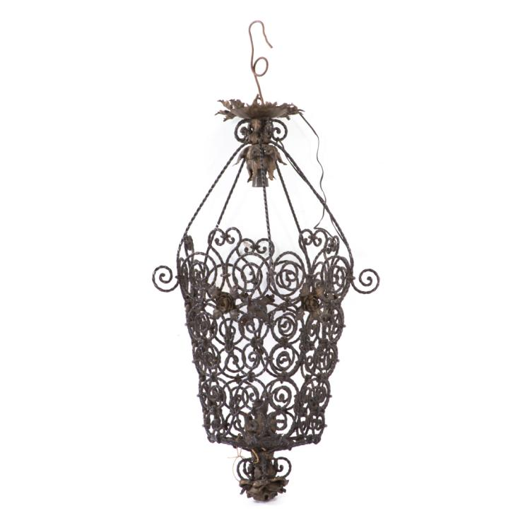 Arts and Crafts twisted wire hanging light fixture