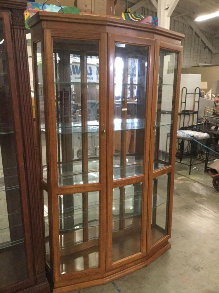 Vintage two door four shelf lighted curio cabinet