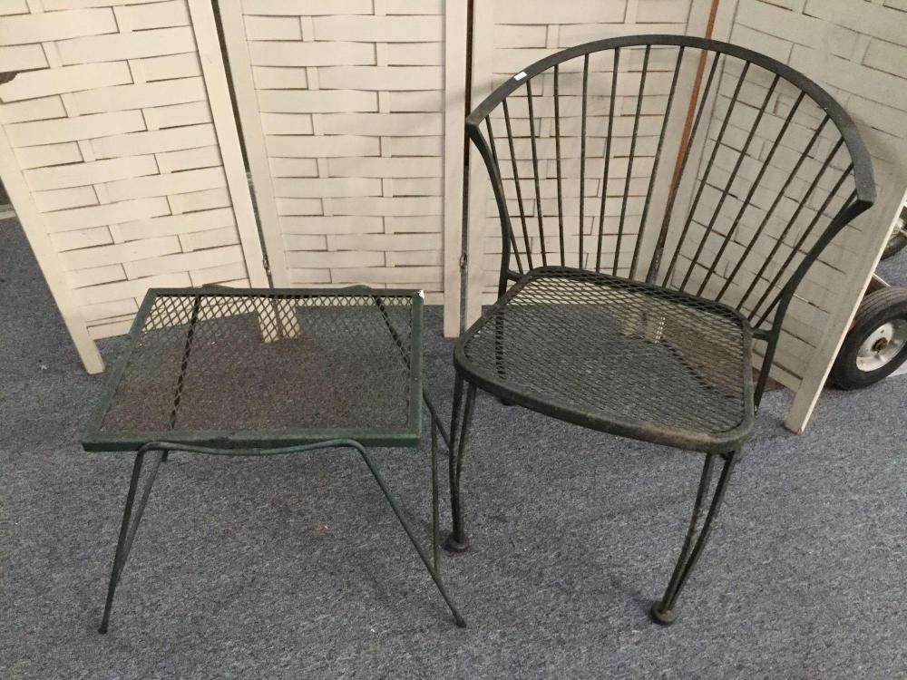 black metal patio chair with small table