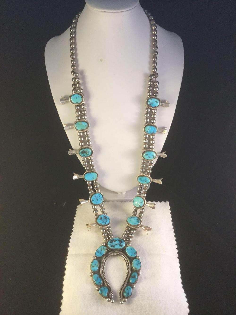 Amazing Native American Sterling Silver And Turquoise Neckla