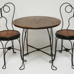 Ice Cream Table And Chairs Lowes Wicker Child S 3 Piece Chair Set In Wrought Iron Lot 1225 Oak Is 18 4 Inches Dia High