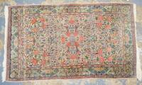 ORIENTAL THROW RUG. 4 FT 10 X 2 FT 11 INCHES.