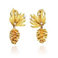 A Pair of Gold and Diamond Pine Cone Earrings