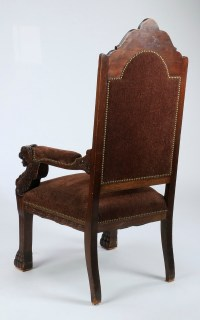 "19th c. carved Italian throne chair, 56""h"