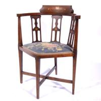 Edwardian inlaid mahogany corner chair, Art Nouveau style in