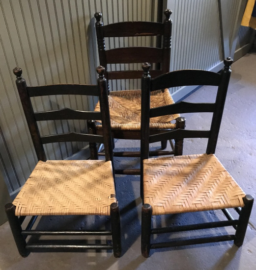 rush seat chairs posture chair with back 3 antique early american style lot 392